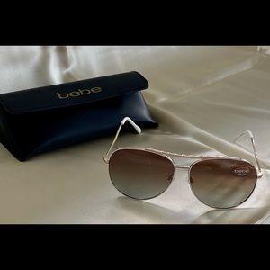 Bebe Aviators sunglasses W/ Case NWT White & Gold